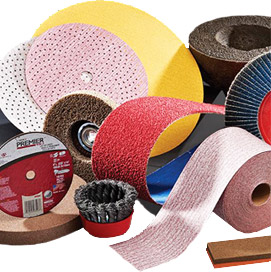 Collection of abrasive disks, grinding wheels, belts and sheets