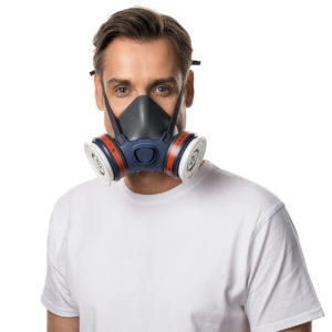Man wearing a industrial respirator