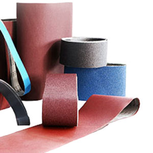 Collection of abrasive belts in various sizes and colours